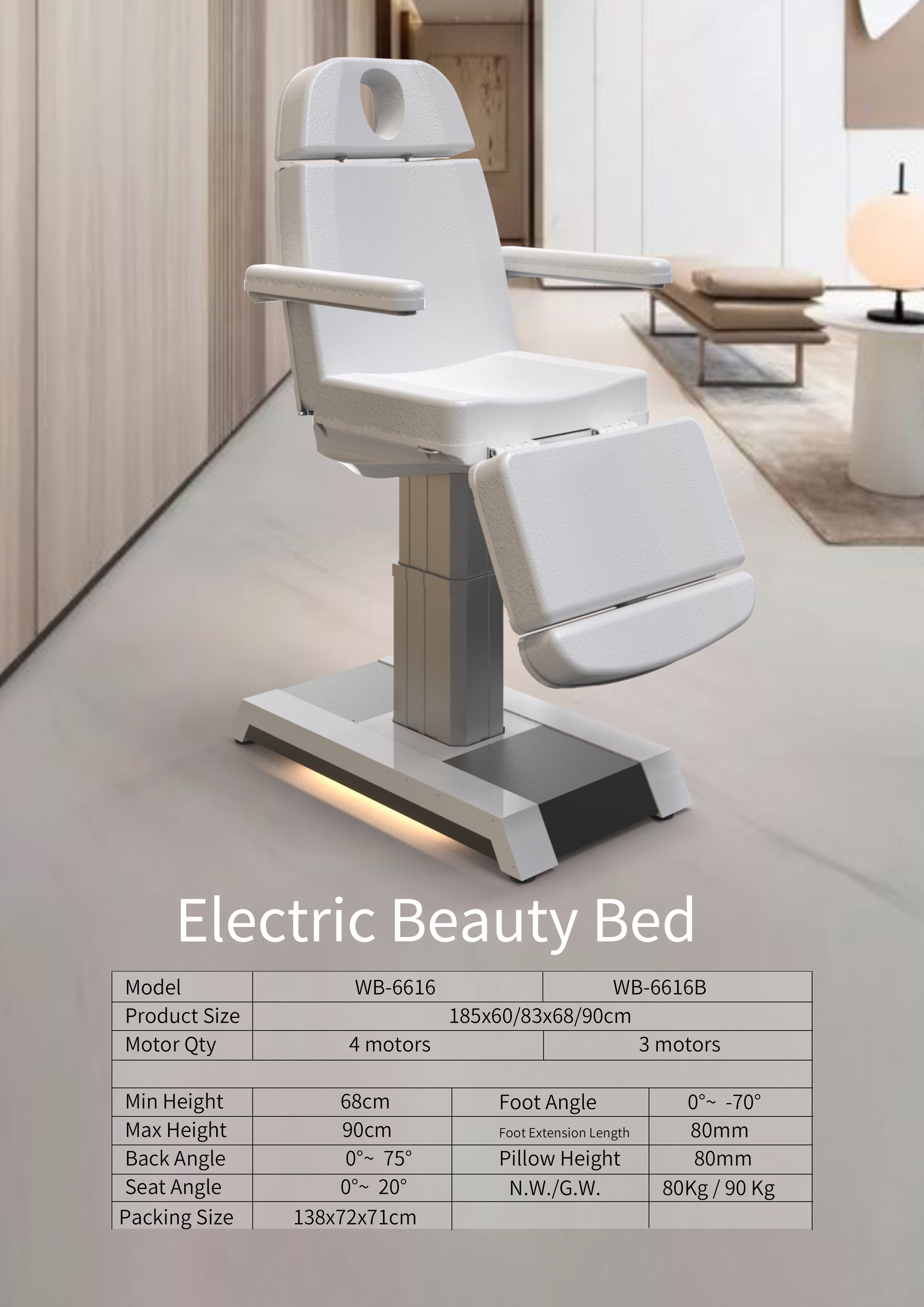 Wholesale Hair Salon Furniture Luxury Massage Table Adjustable Electrical Beauty Bed