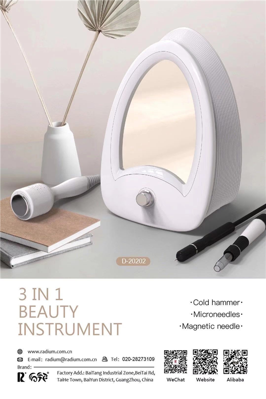 Radium D-20202 Microneedles Magnetic Needles And Cold Hammer 3 In 1 Beauty Instrument With Mirror